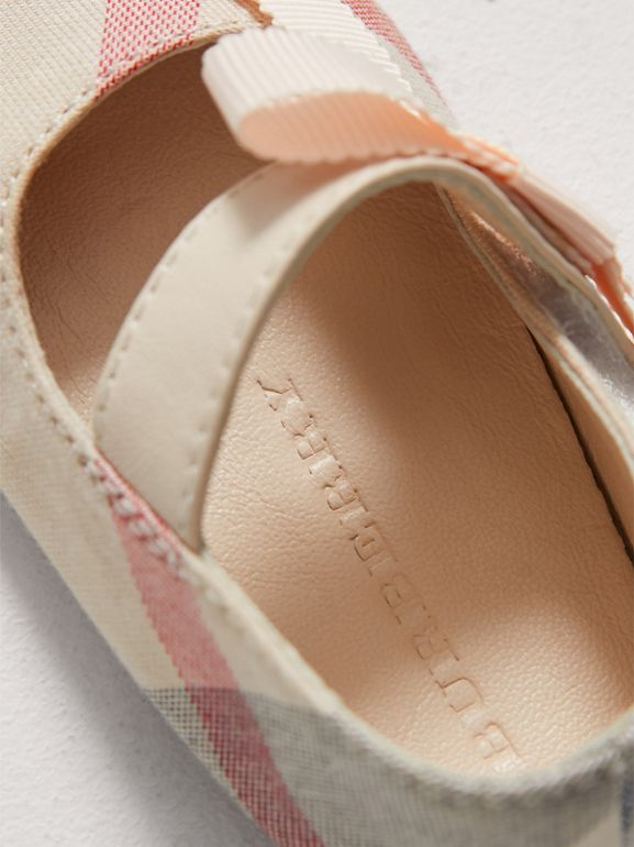 Bow Detail Check Cotton and Leather Ballerinas in Pale Classic - Children | Burberry - cell image 1