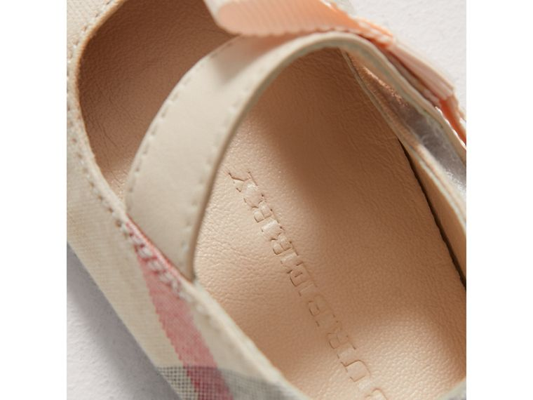 Bow Detail Check Cotton and Leather Ballerinas in Pale Classic | Burberry - cell image 1