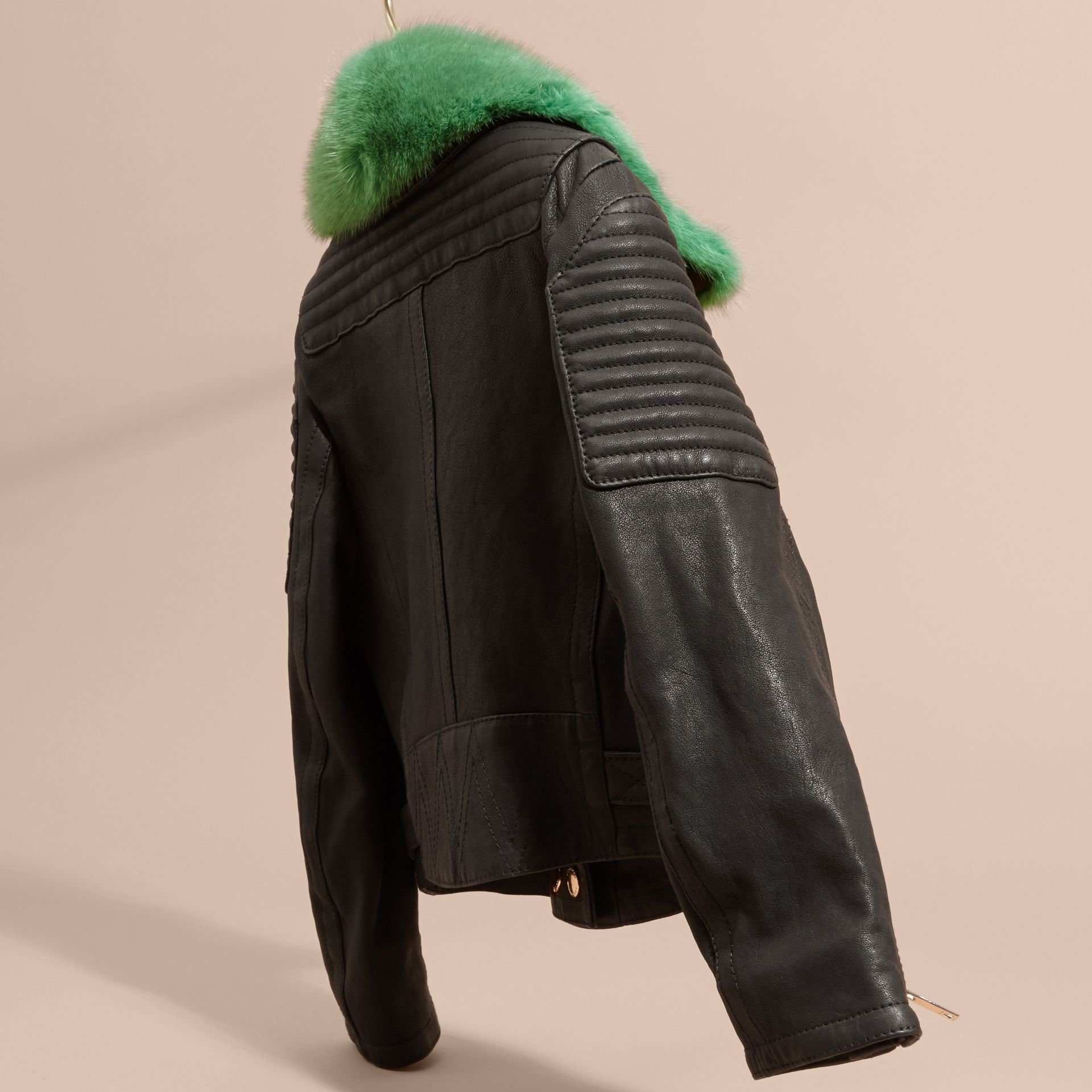 Black Lambskin Biker Jacket with Detachable Mink Collar - gallery image 4