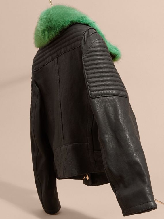 Black Lambskin Biker Jacket with Detachable Mink Collar - cell image 3