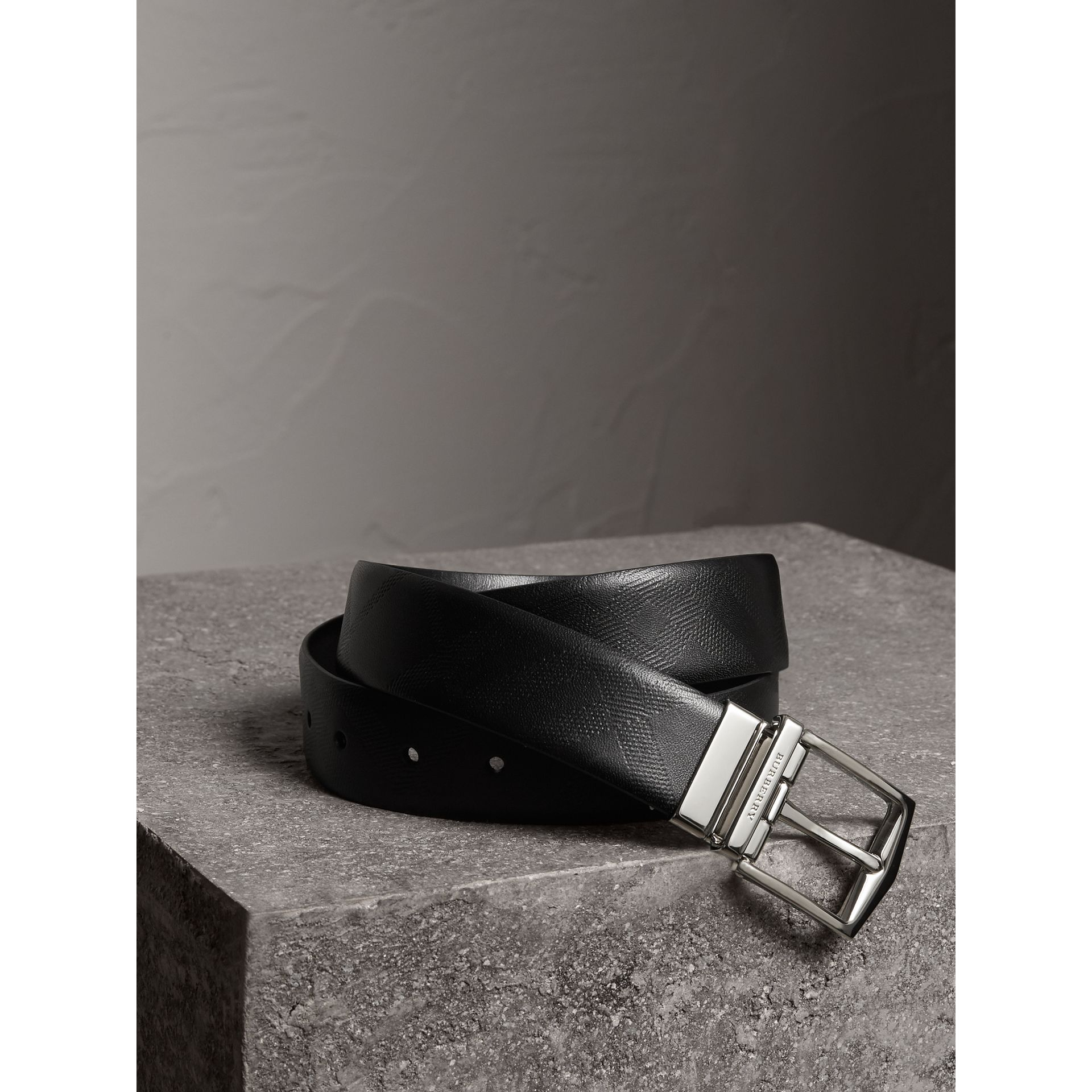 Reversible Embossed Check Leather Belt in Black - Men | Burberry - gallery image 1