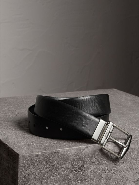 Reversible Embossed Check Leather Belt in Black
