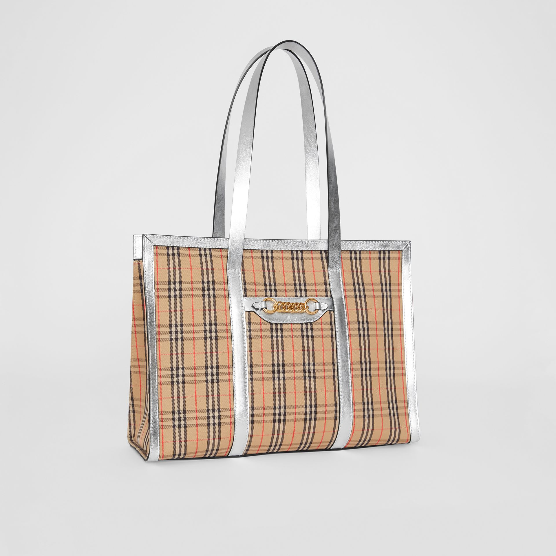 The 1983 Check Link Tote Bag in Silver - Women | Burberry United States - gallery image 6