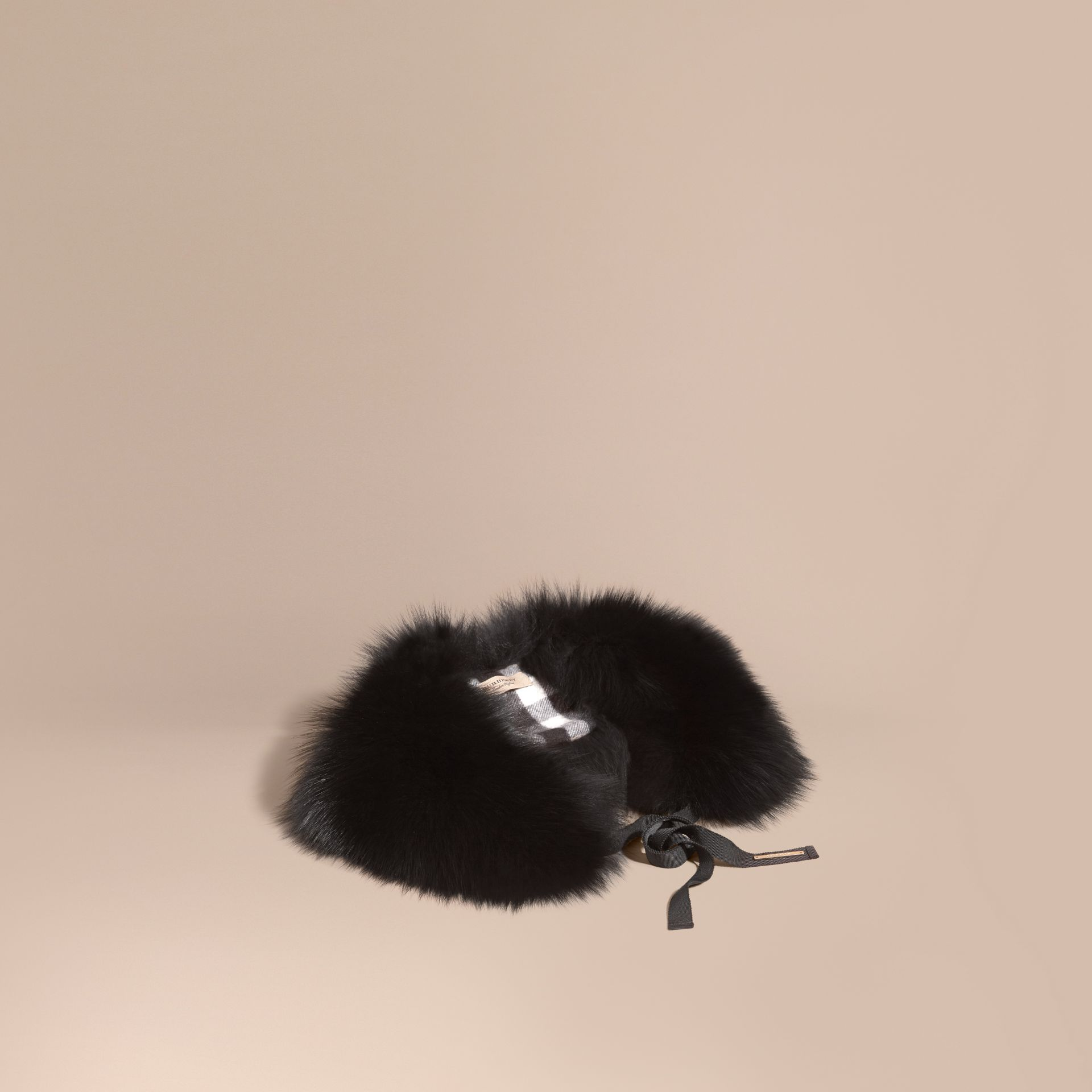 Black/camel Fox Fur Collar with Check Cashmere Lining Black/camel - gallery image 1