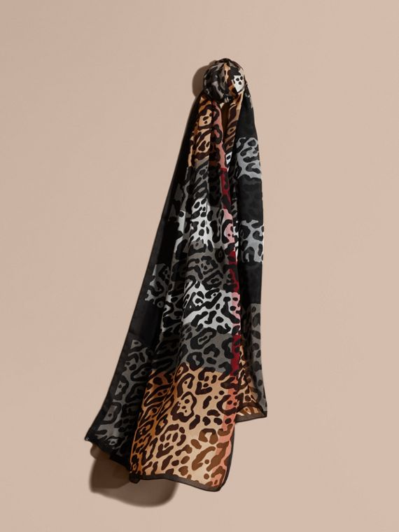 Lightweight Animal Print Check Silk Scarf Camel/black