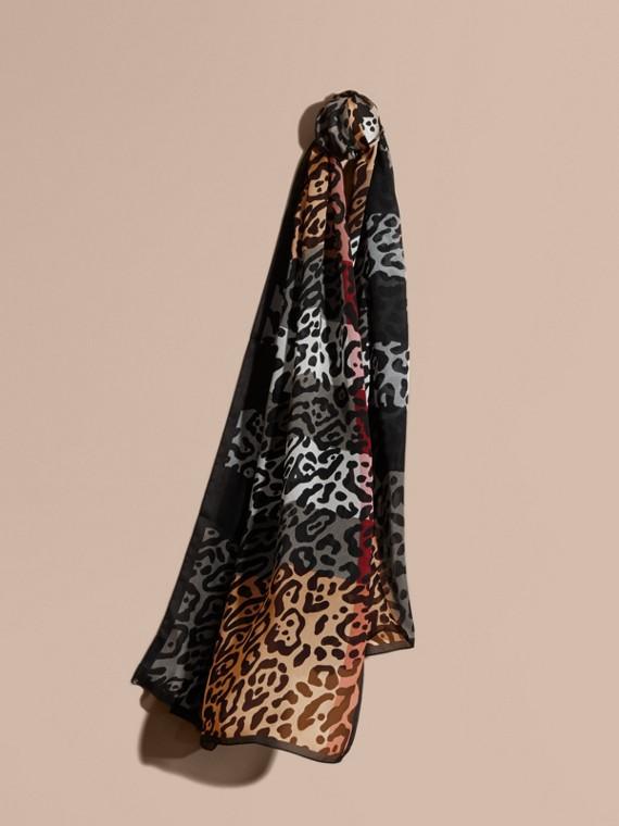 Lightweight Animal Print Check Silk Scarf Camel/black