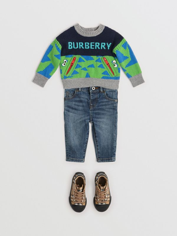 Skinny Fit Stretch Denim Jeans in Mid Indigo - Children | Burberry - cell image 2