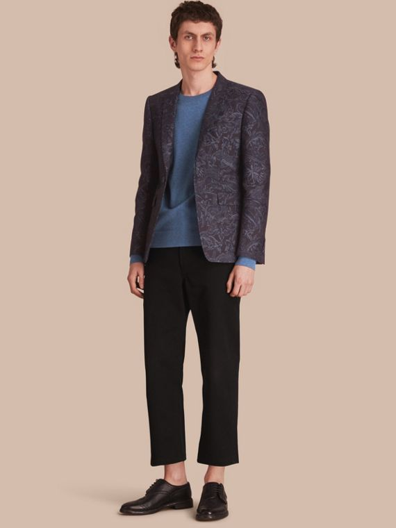 Slim Fit Beasts Fil Coupé Wool Silk Tailored Jacket in Stone Blue