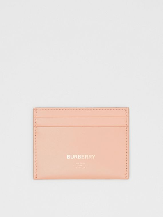 Horseferry Print Leather Card Case in Blush Pink