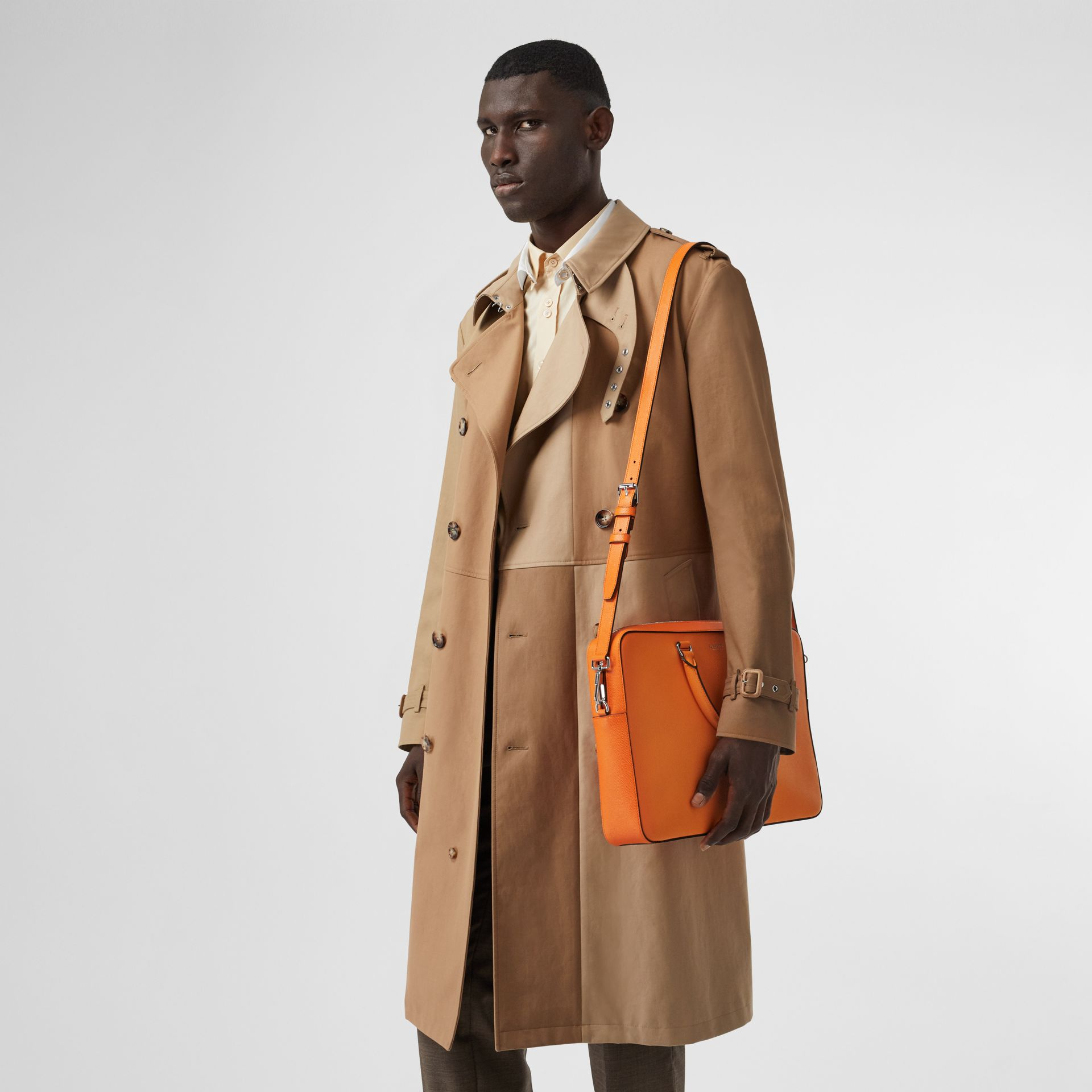Grainy Leather Briefcase in Bright Orange - Men | Burberry - gallery image 2