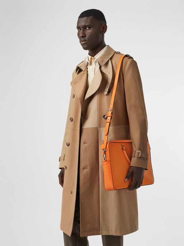 Grainy Leather Briefcase in Bright Orange - Men | Burberry - cell image 2