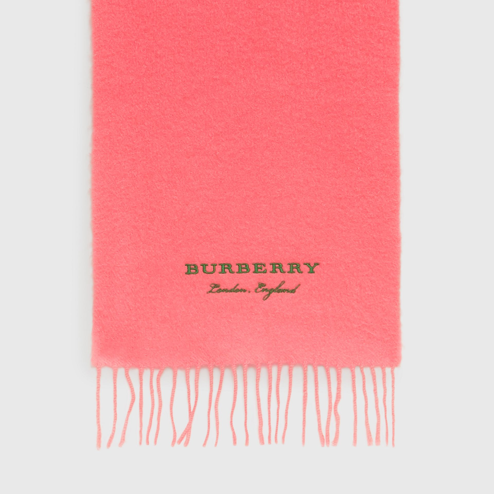 Embroidered Cashmere Fleece Scarf in Coral | Burberry - gallery image 4