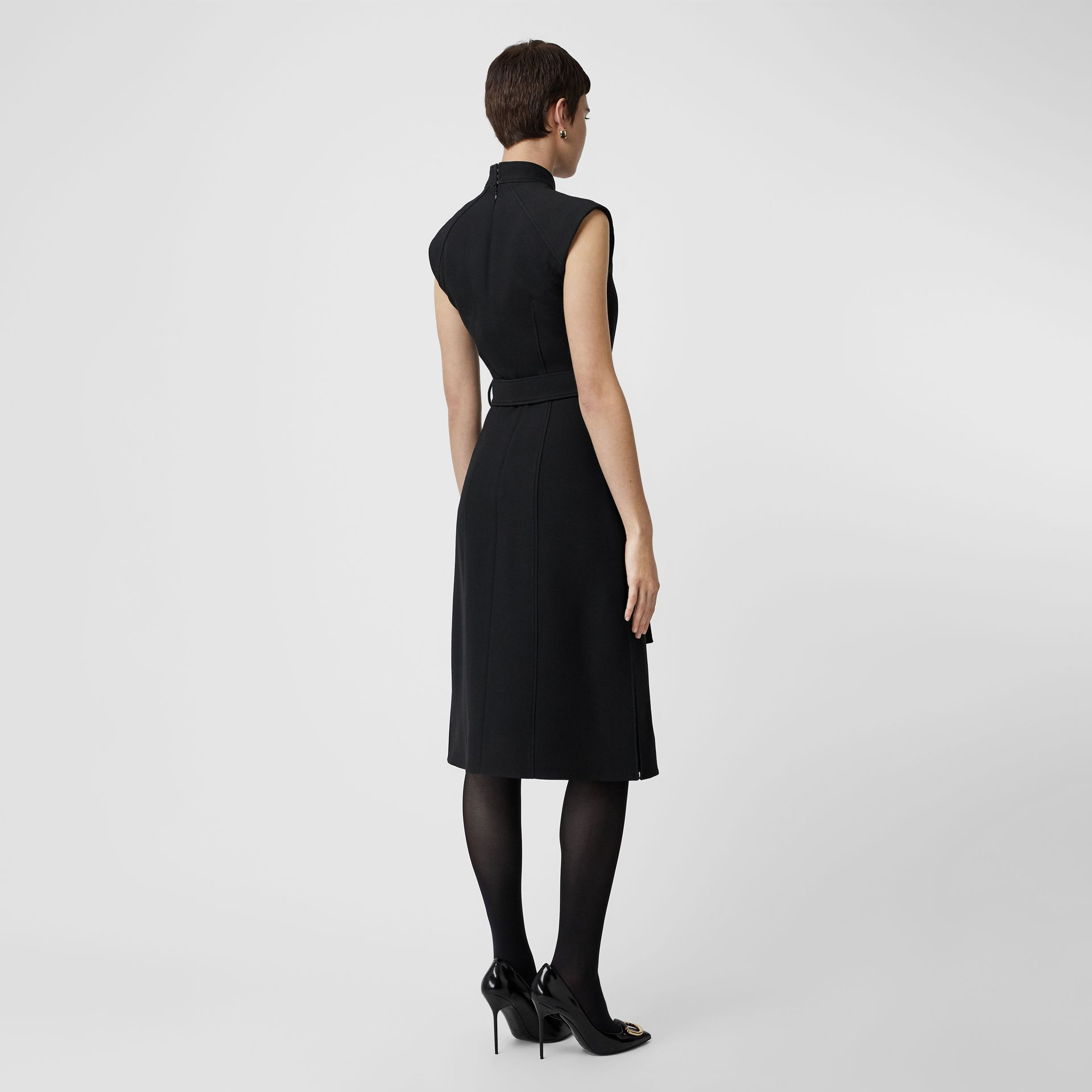 Wool Silk Belted Shift Dress in Black - Women | Burberry - gallery image 2