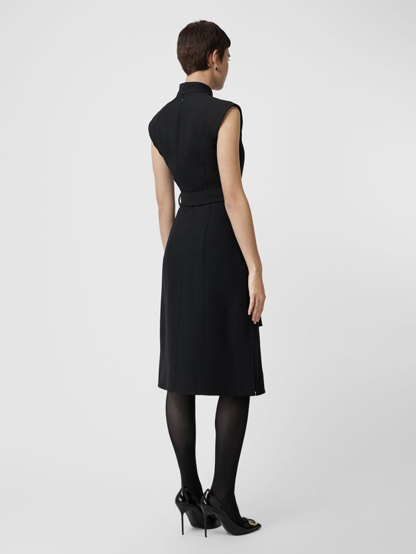 Wool Silk Belted Dress in Black - Women | Burberry Hong Kong - cell image 2