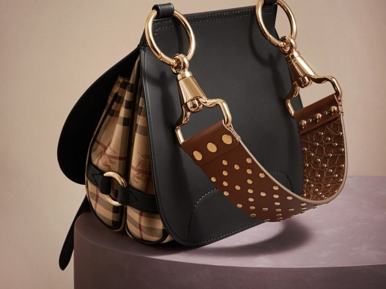 Borsa The Bridle in pelle, motivo Haymarket check e alligatore (Nero) - Donna | Burberry - cell image 4