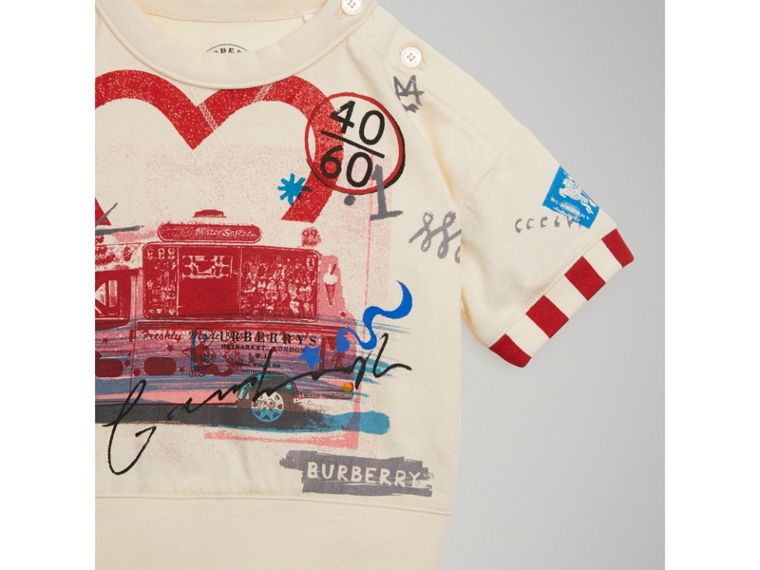 Postcard Motif Cotton T-shirt in Chalk White | Burberry - cell image 4