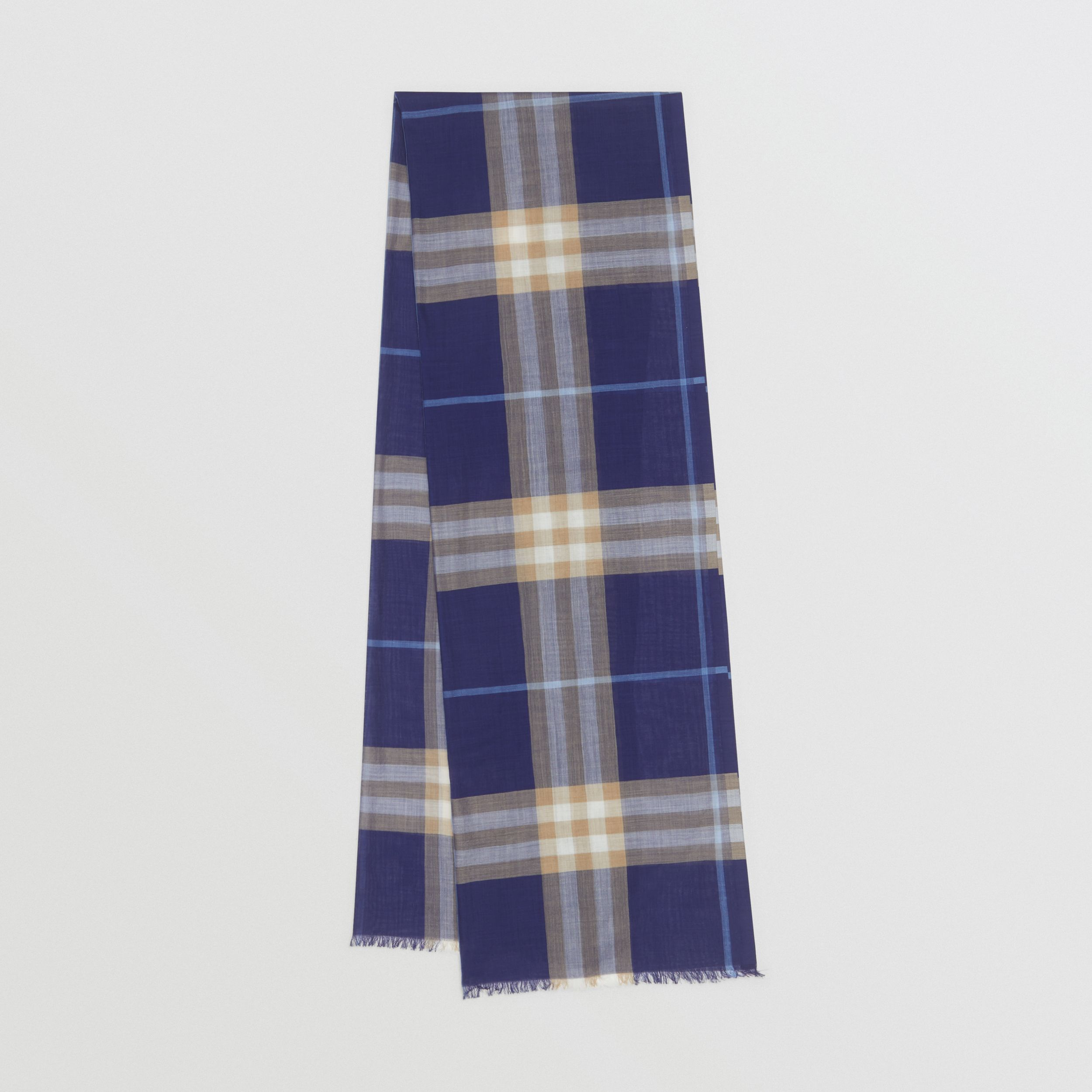 Lightweight Check Wool Silk Scarf in Inky Blue | Burberry - 1