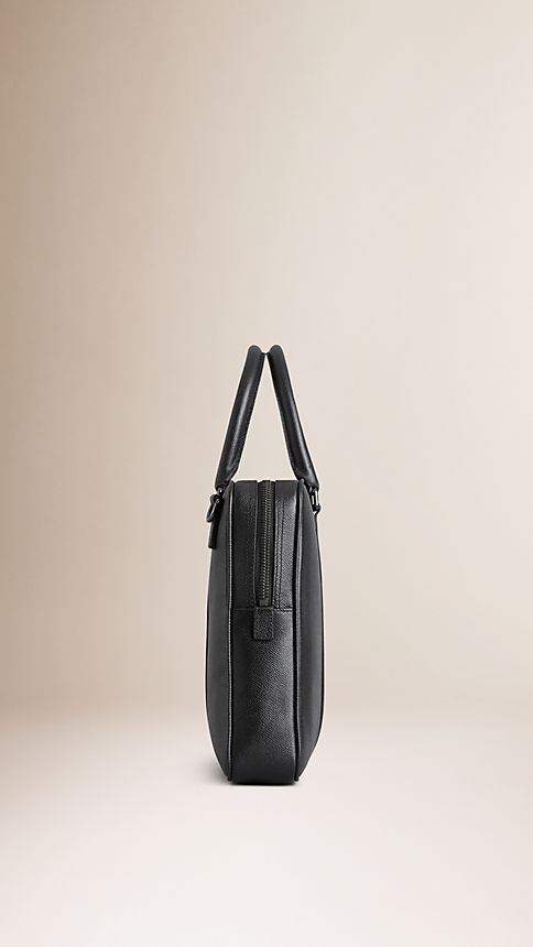 Black London Leather Crossbody Briefcase - Image 4