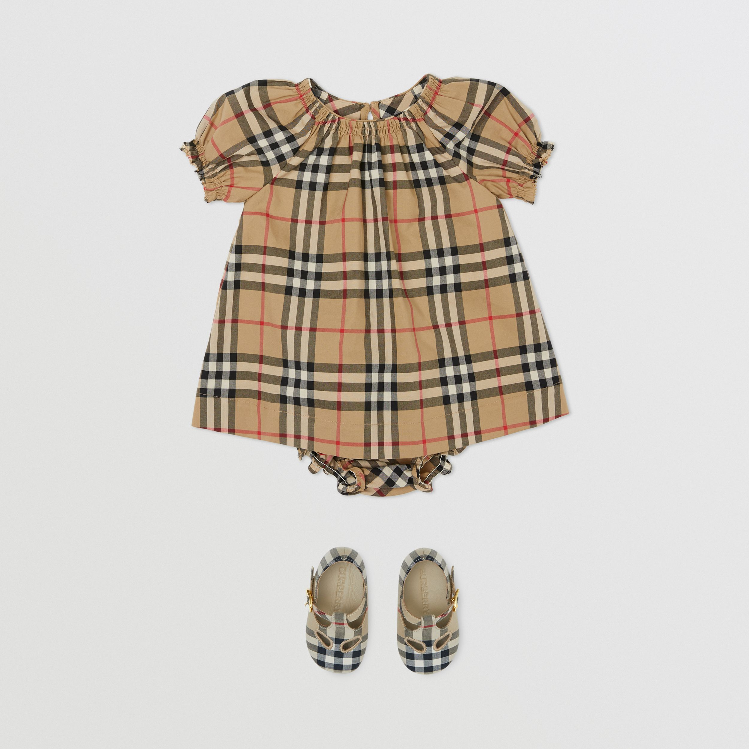 Ruched Vintage Check Cotton Dress with Bloomers in Archive Beige - Children | Burberry - 3