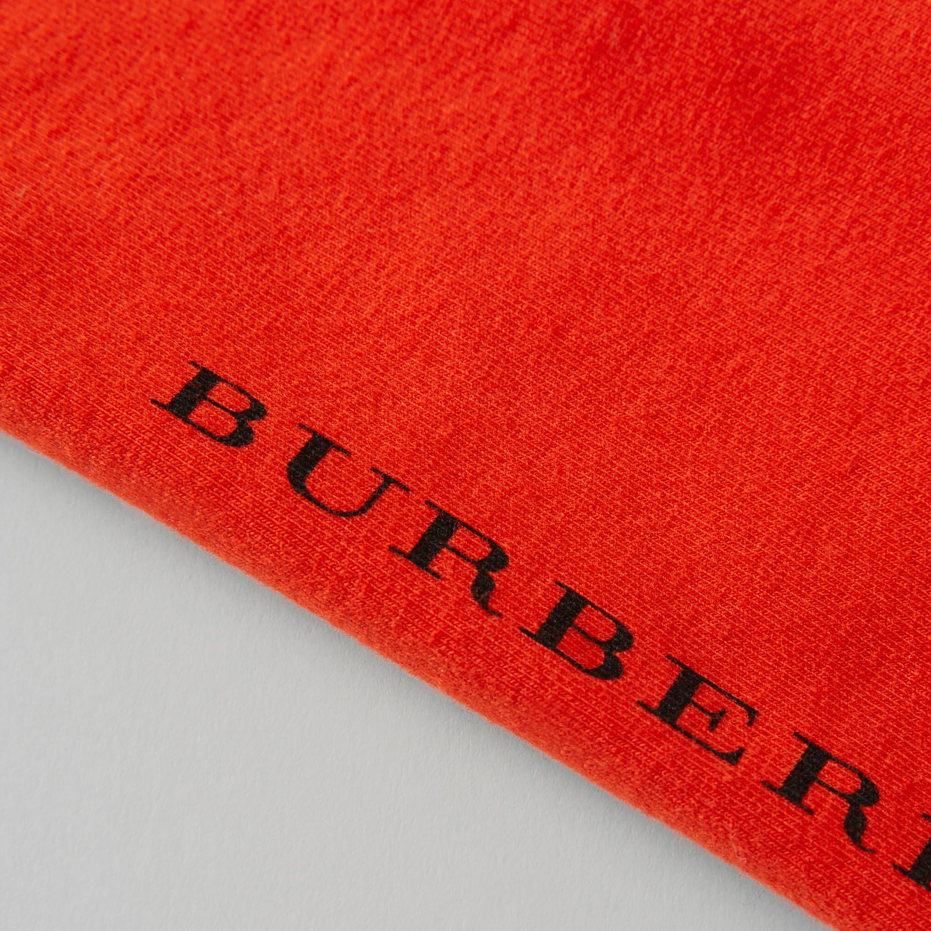 Logo Detail Stretch Cotton Leggings in Orange Red - Children | Burberry Australia - gallery image 1