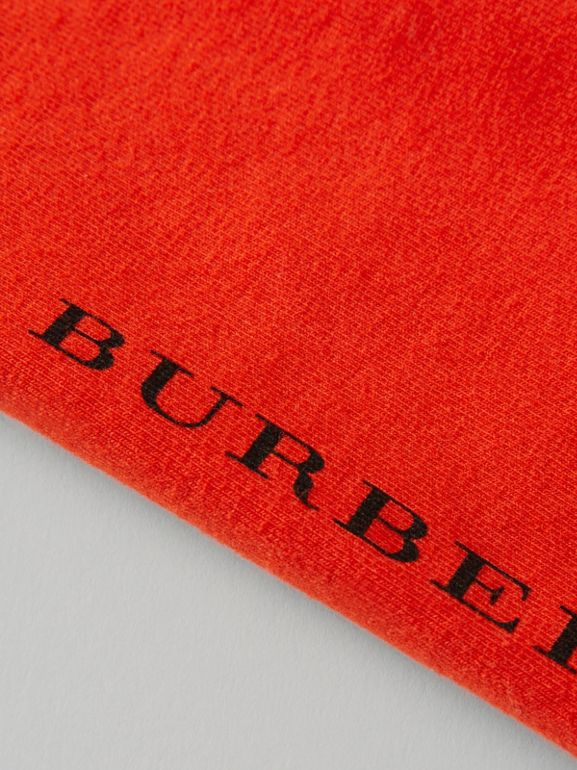 Logo Detail Stretch Cotton Leggings in Orange Red - Children | Burberry - cell image 1