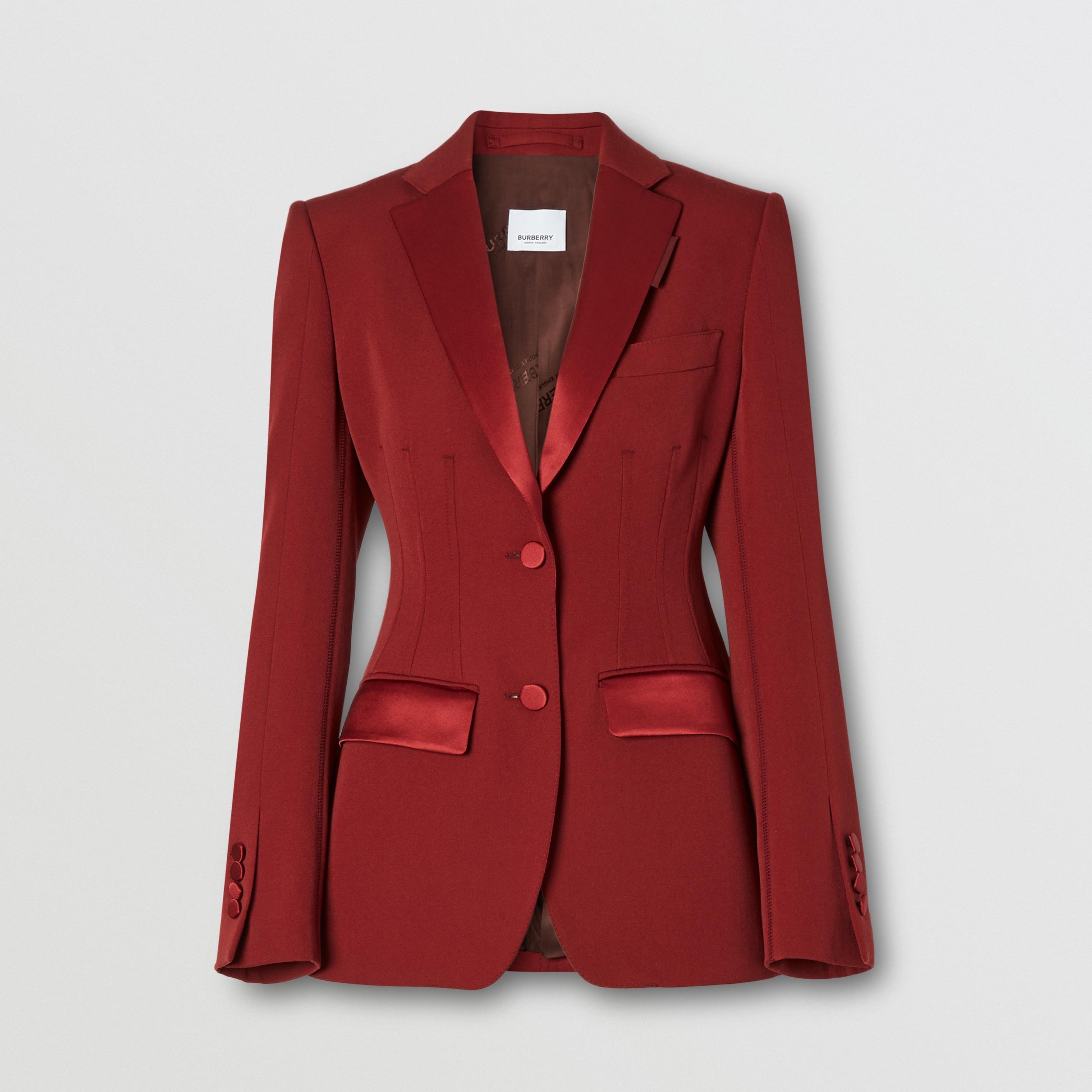 Giacca sartoriale in lana con finiture in seta (Carminio Scuro) - Donna | Burberry - 4