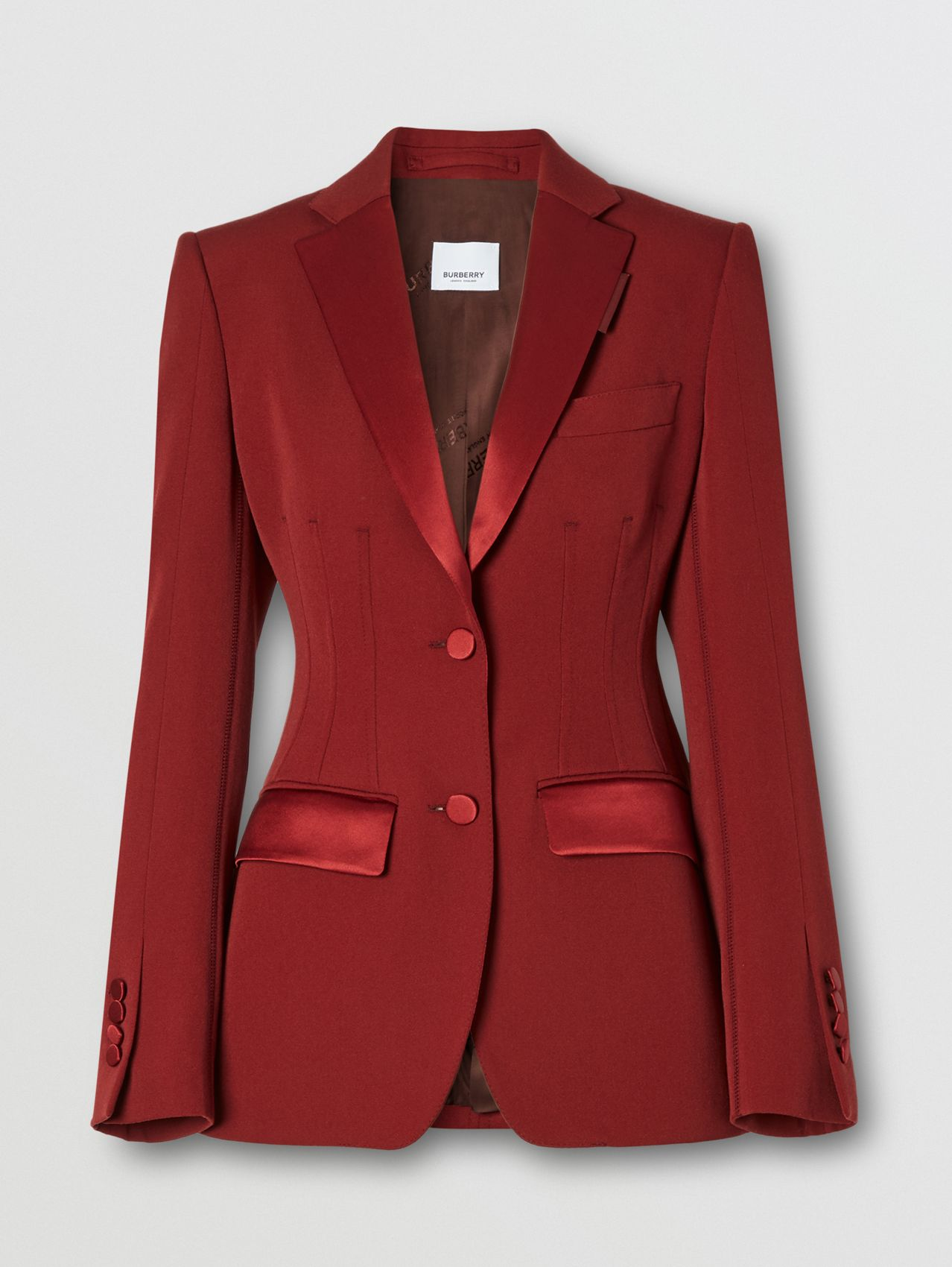 Silk Trim Wool Tailored Jacket in Dark Carmine