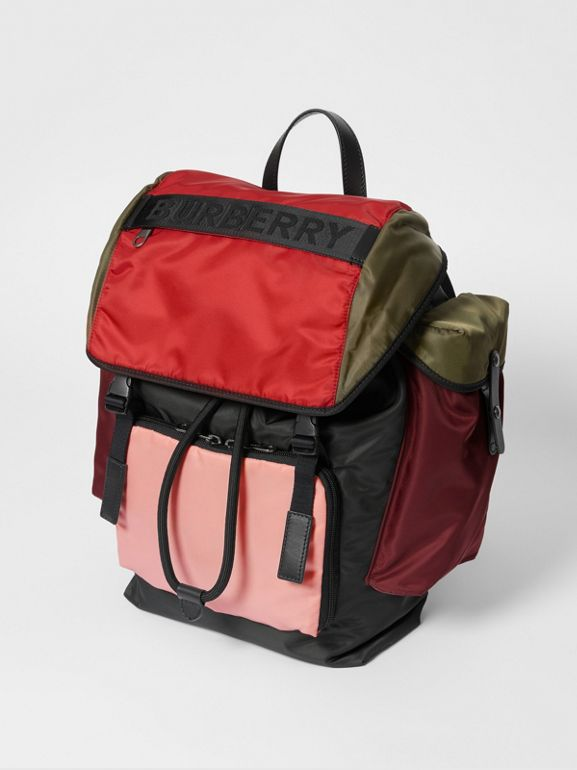Large Leather Trim Colour Block Nylon Backpack in Multicolour | Burberry - cell image 1