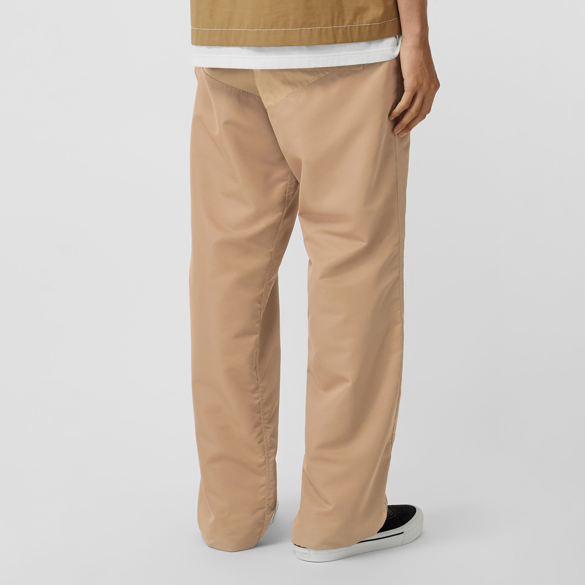 Nylon Panel Cotton Blend Wide-leg Trousers in Honey - Men | Burberry - gallery image 2