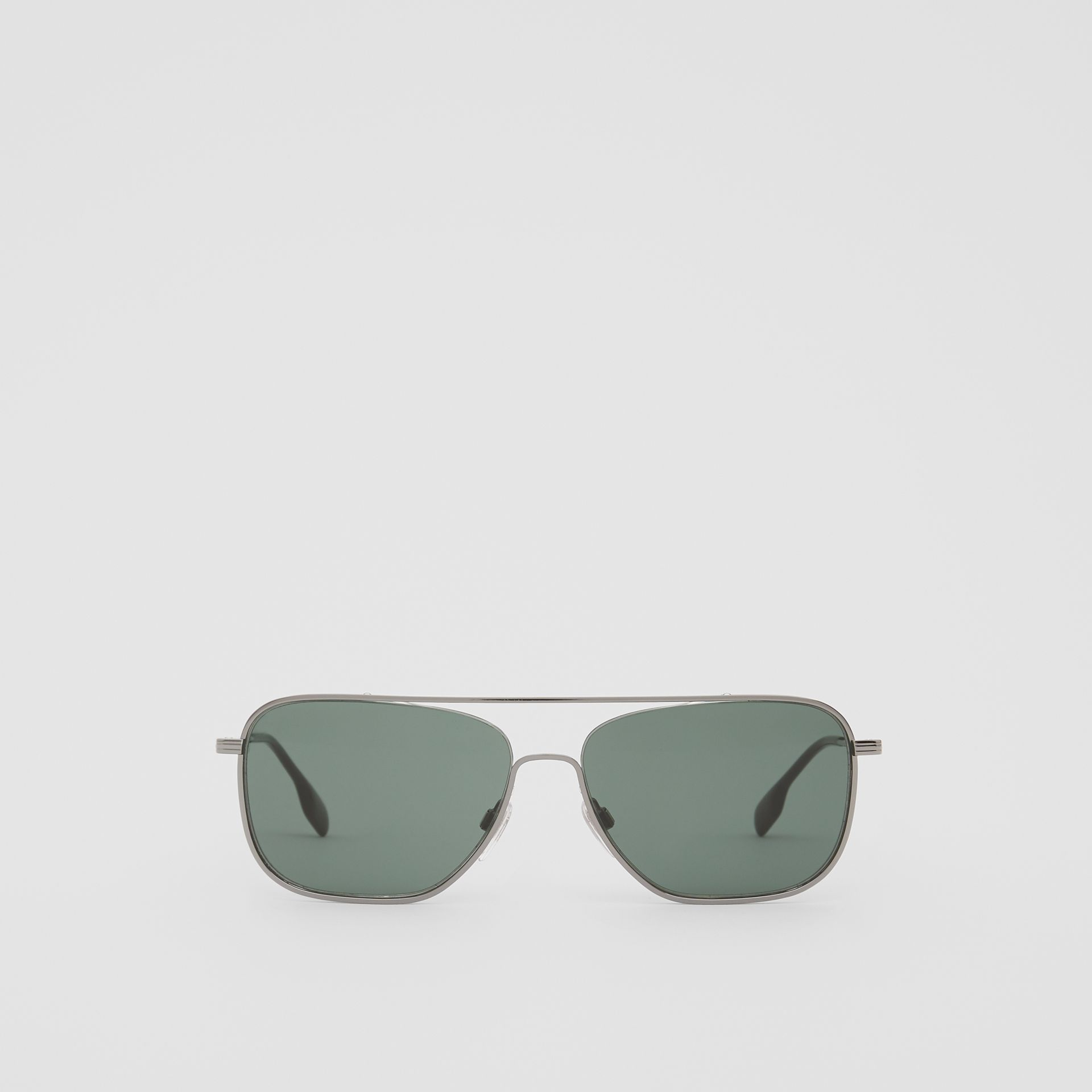 Top Bar Detail Square Frame Sunglasses in Silver - Men | Burberry - gallery image 0