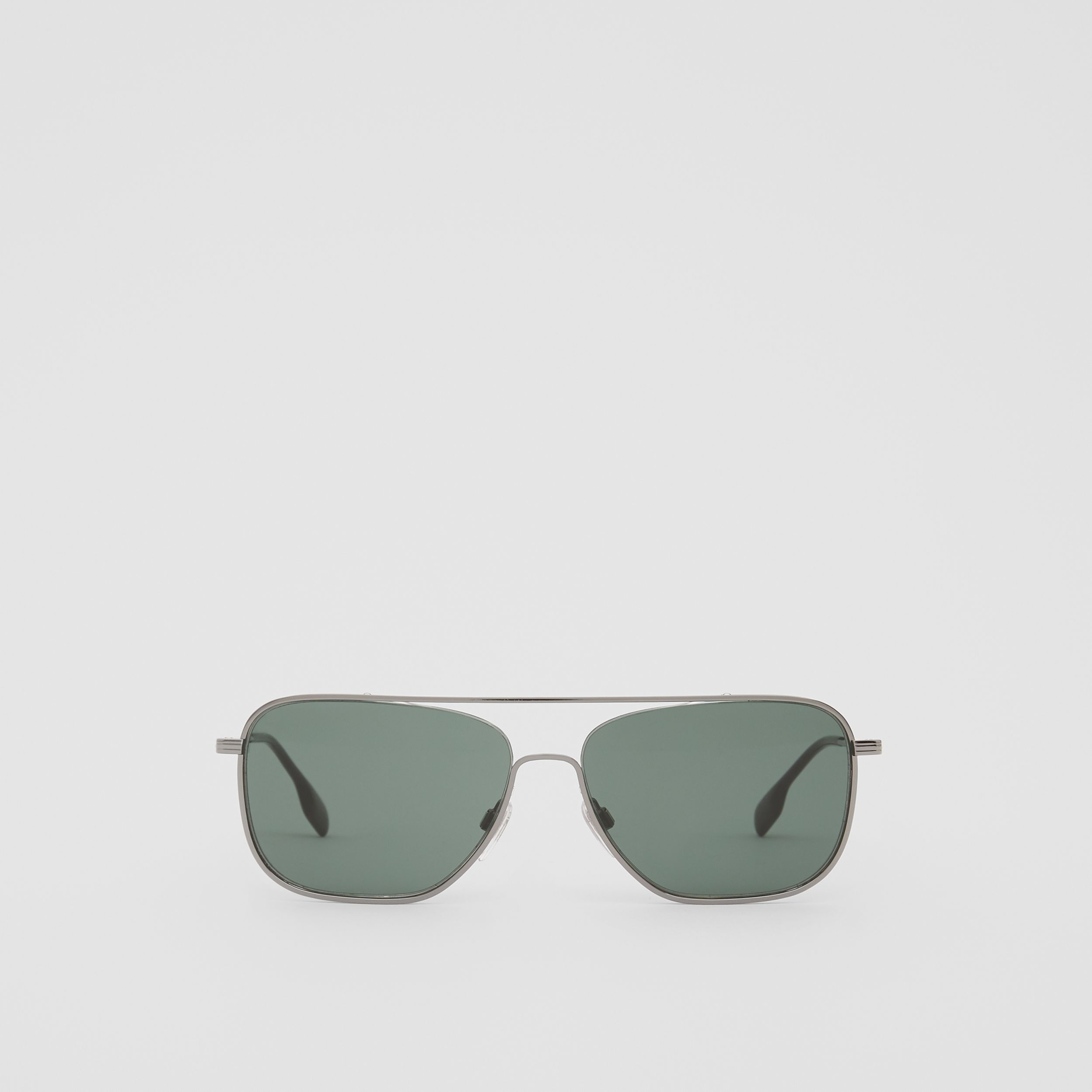 Top Bar Detail Square Frame Sunglasses in Silver - Men | Burberry - 1
