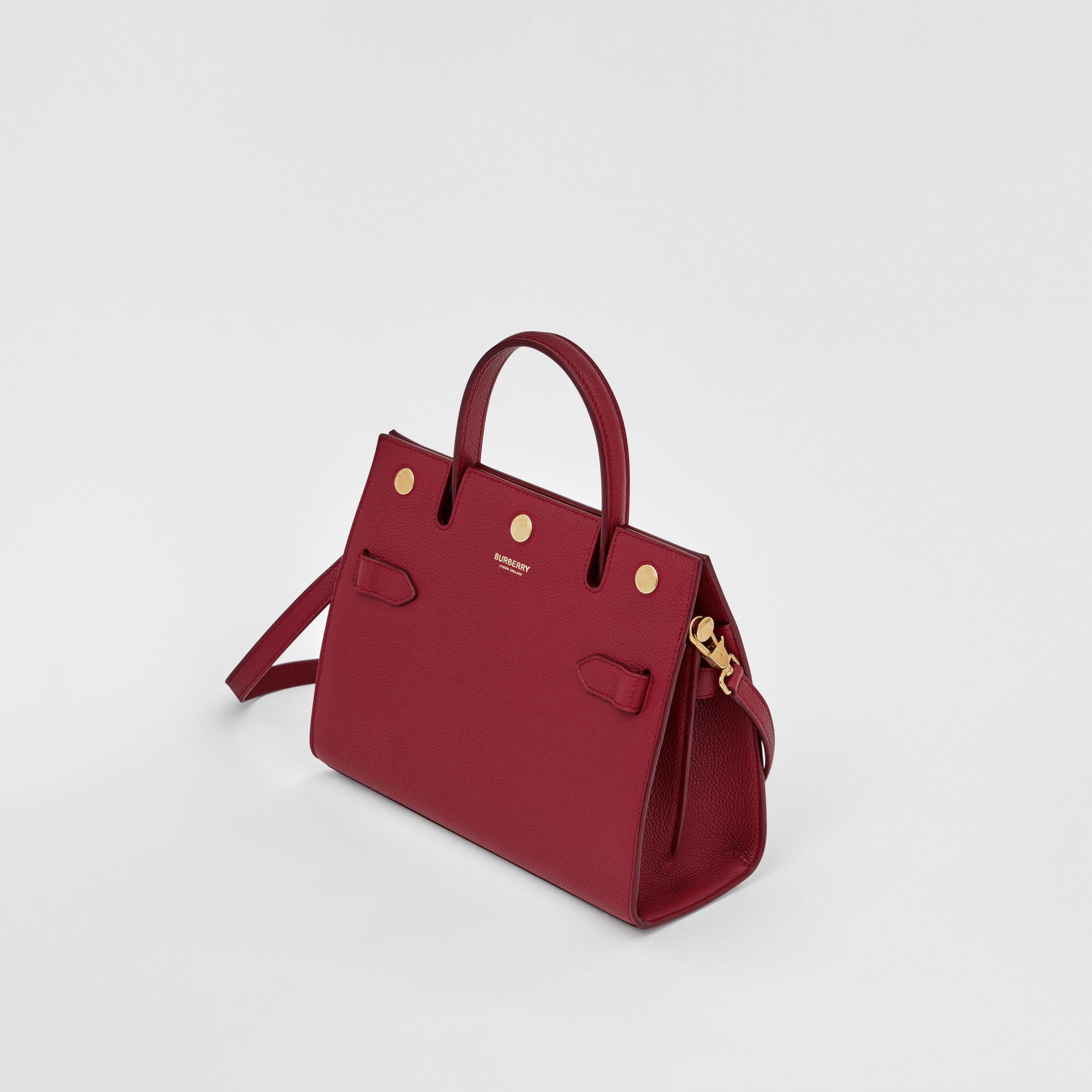 Mini Leather Title Bag in Dark Crimson - Women | Burberry Australia - 4