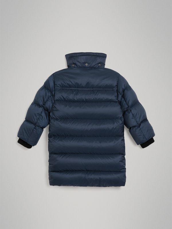 Detachable Hood Down-filled Puffer Coat in Navy | Burberry Hong Kong - cell image 3