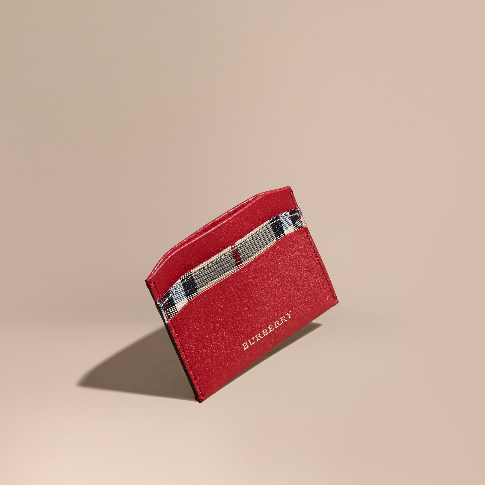 Check and Leather Card Case in Parade Red - Women | Burberry - gallery image 1