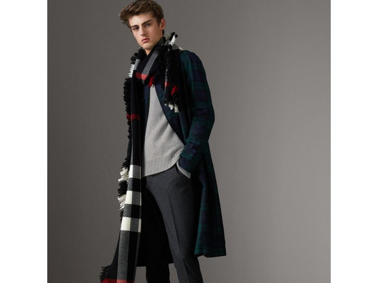 Open-knit Detail Wool Cashmere Sweater in Light Grey Melange - Men | Burberry United States - cell image 4