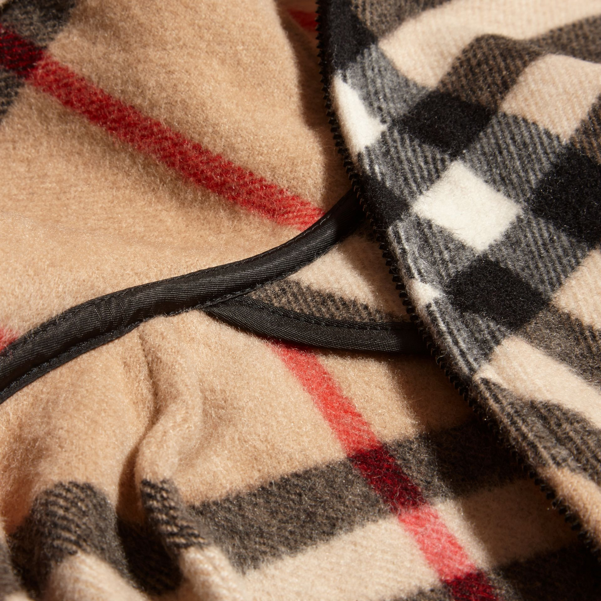 Hooded Check Wool Cashmere Cape - Girl | Burberry - gallery image 2
