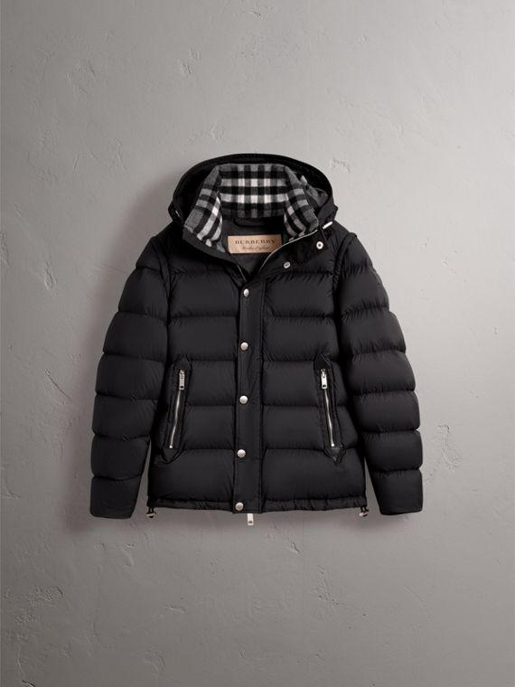 Detachable-sleeve Down-filled Puffer Jacket in Black - Men | Burberry - cell image 3