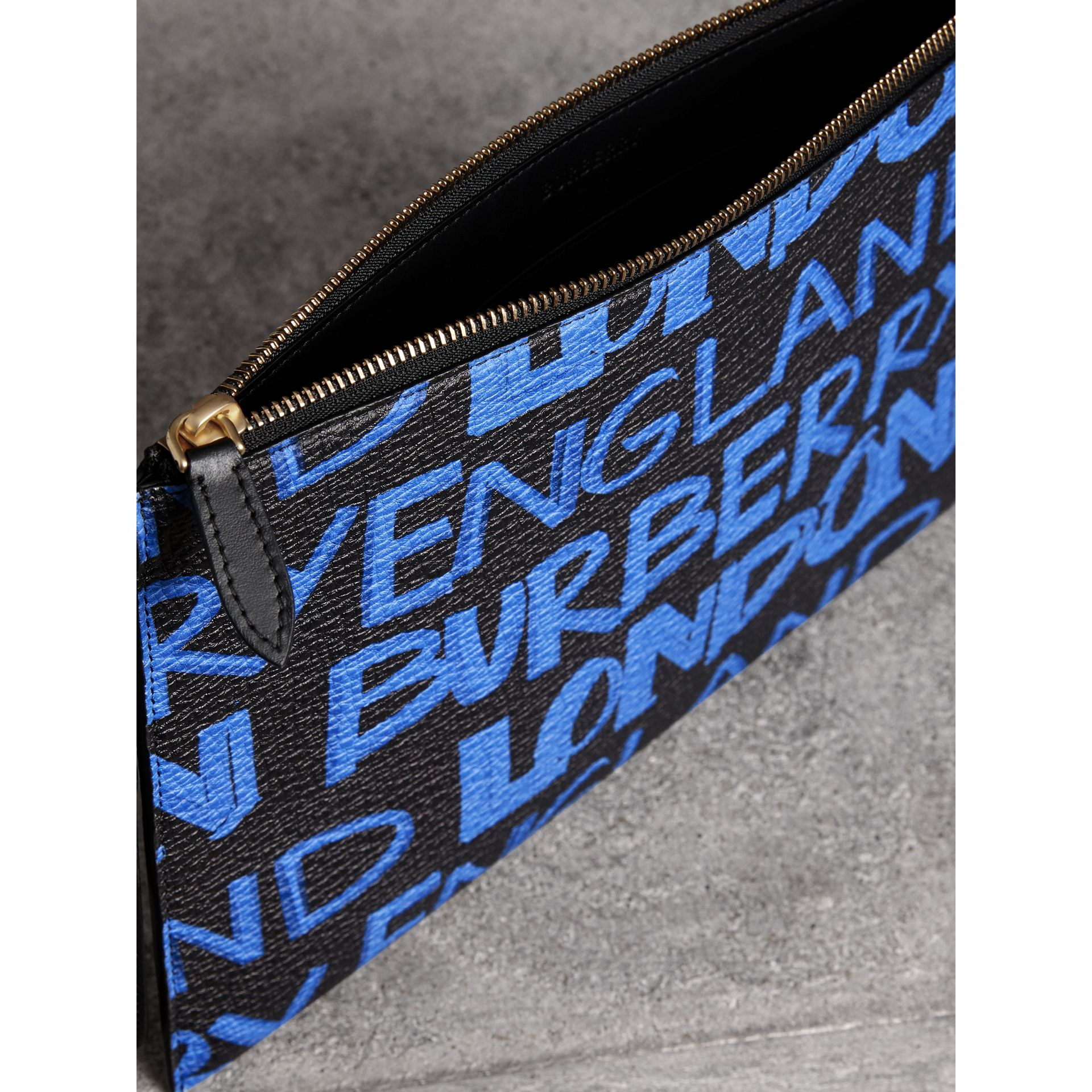 Graffiti Print Leather Zip Pouch in Blue/black | Burberry United Kingdom - gallery image 3