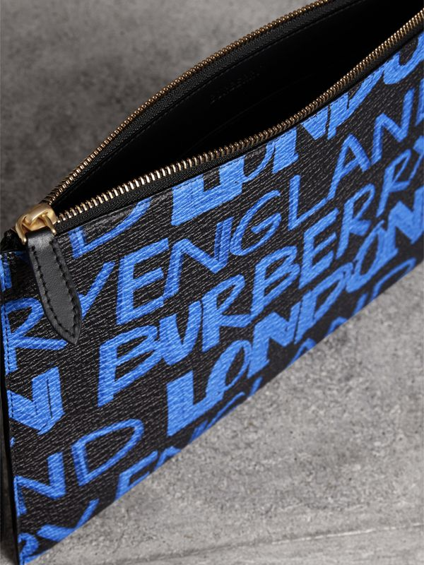 Graffiti Print Leather Zip Pouch in Blue/black | Burberry - cell image 3