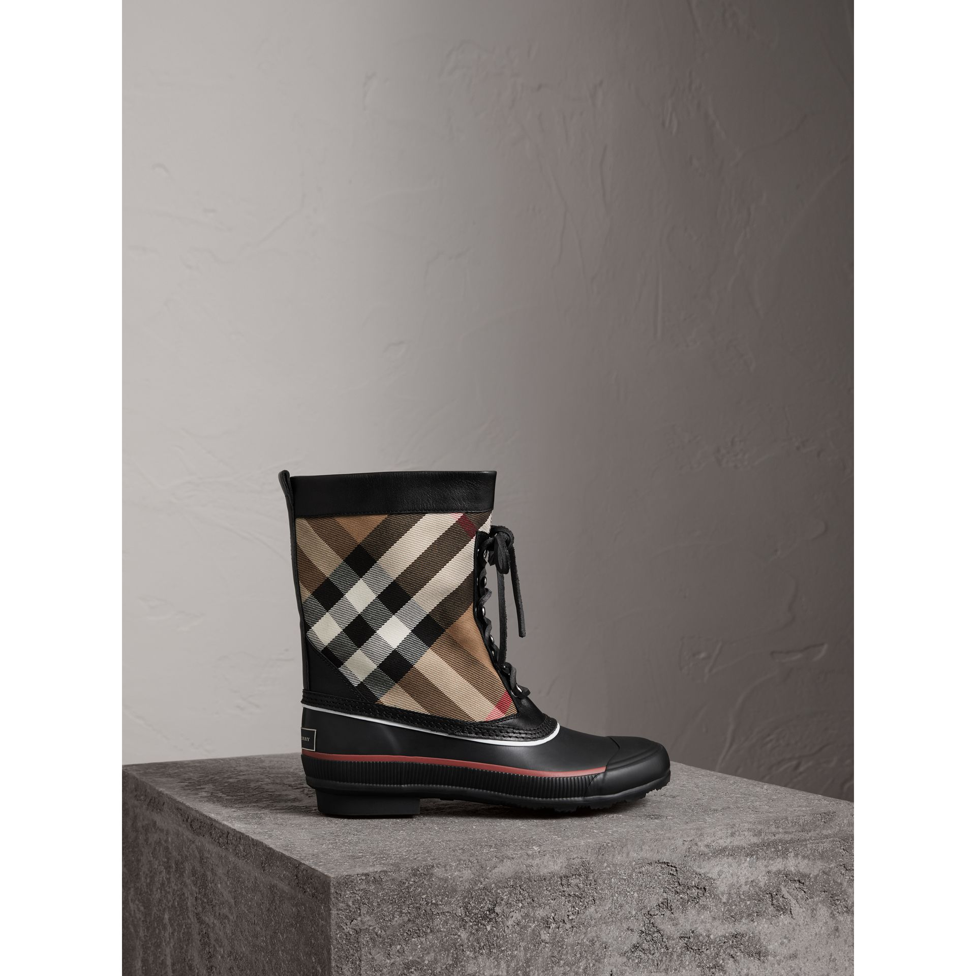 Lace-up House Check and Rubber Rain Boots in Classic Check/black - Women | Burberry - gallery image 0