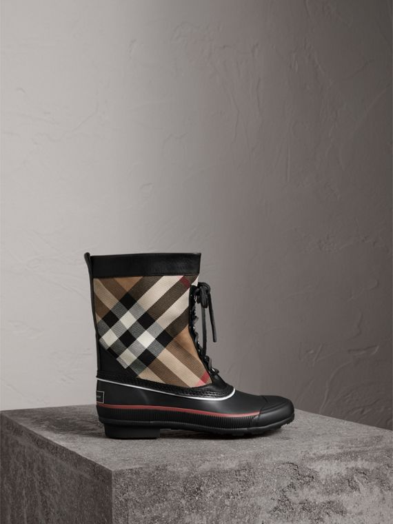 Lace-up House Check and Rubber Rain Boots in Classic Check/black