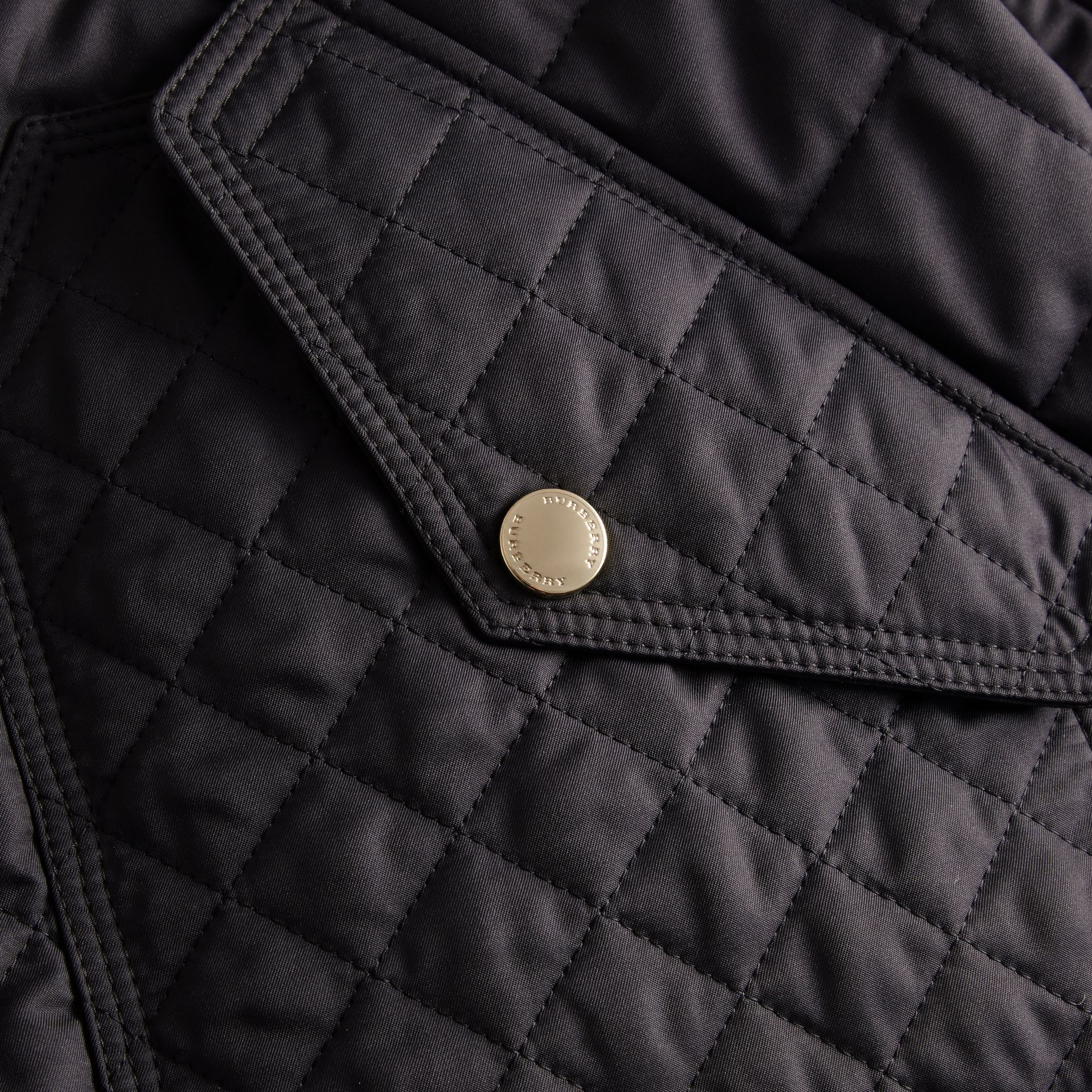 Diamond Quilted Hooded Jacket with Check Lining Navy - gallery image 2