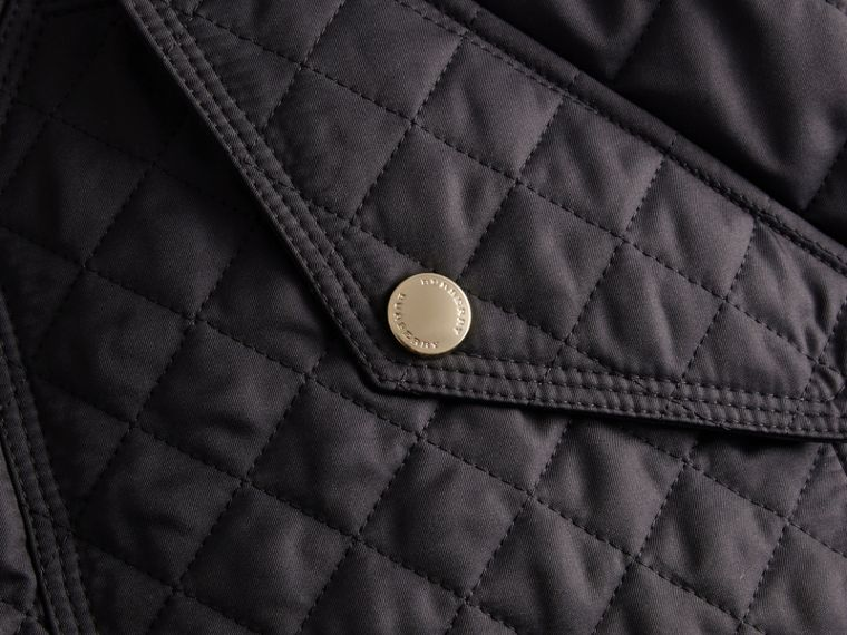 Diamond Quilted Hooded Jacket with Check Lining Navy - cell image 1