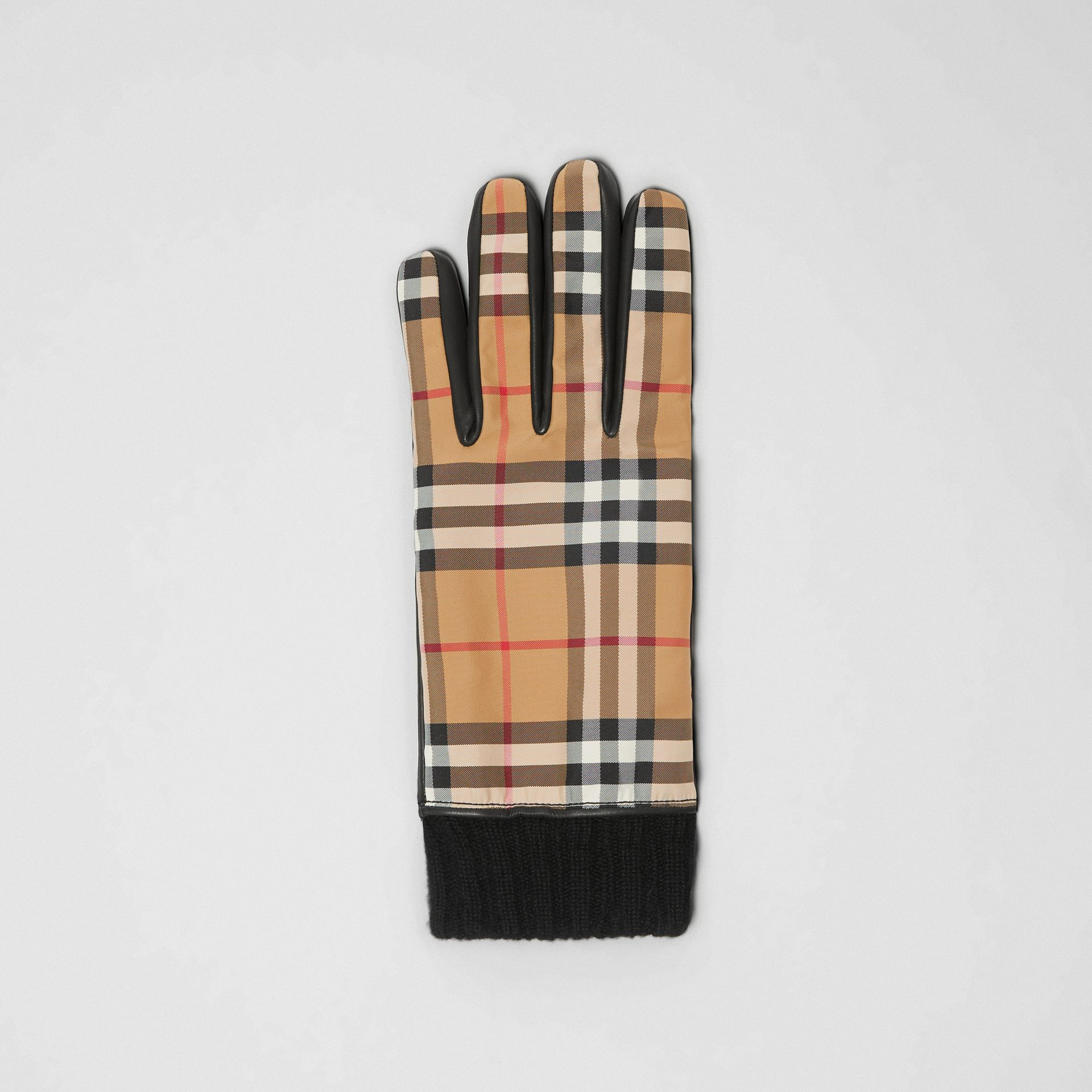 Cashmere-lined Vintage Check and Lambskin Gloves in Antique Yellow/black | Burberry - gallery image 2