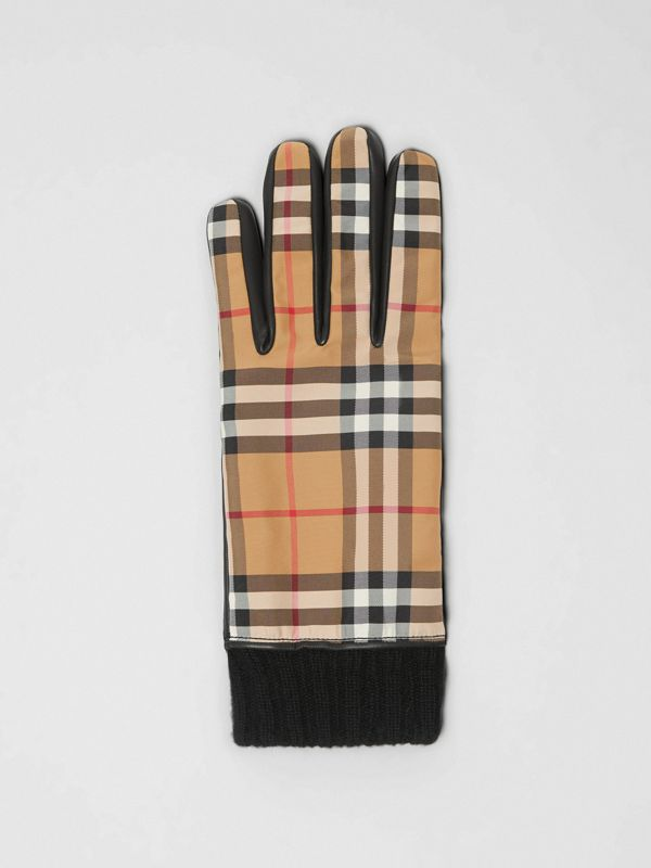 Cashmere-lined Vintage Check and Lambskin Gloves in Antique Yellow/black | Burberry - cell image 2