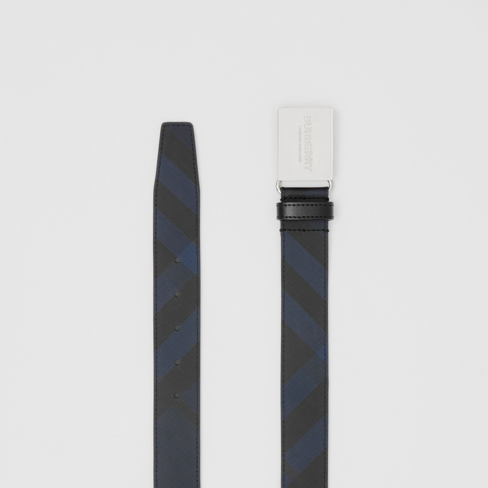Plaque Buckle London Check and Leather Belt in Navy/black - Men | Burberry United States - gallery image 5