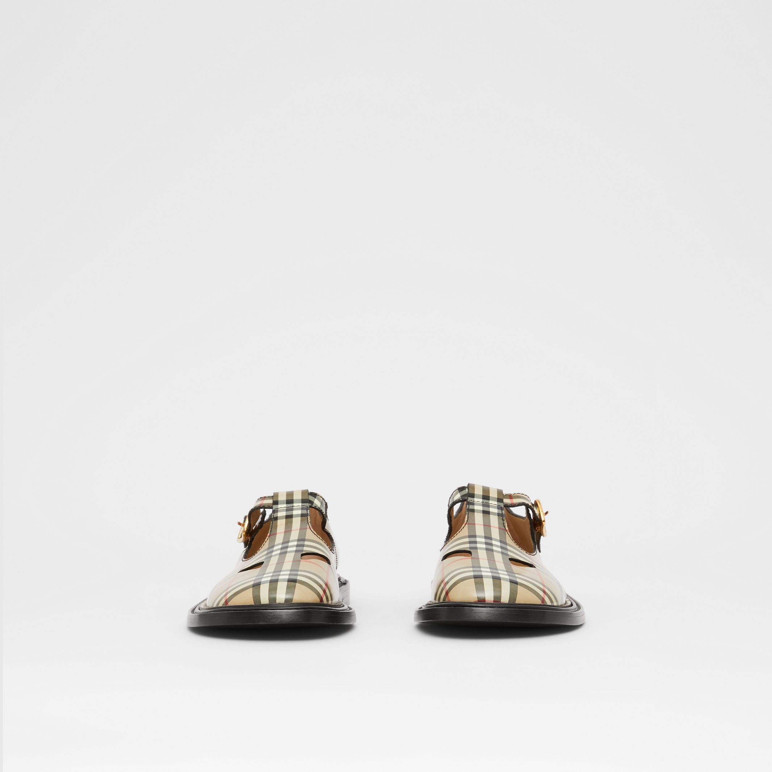 Vintage Check Leather T-bar Shoes in Archive Beige - Women | Burberry United Kingdom - 4