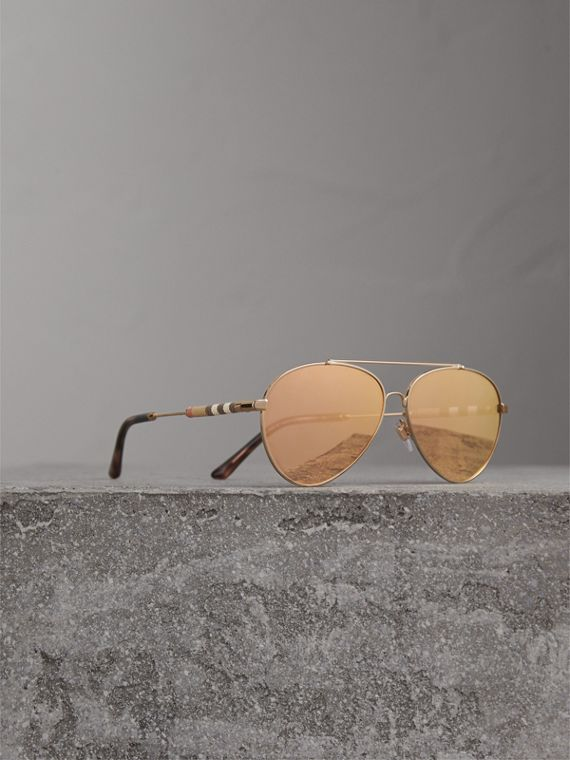 Check Detail Mirrored Pilot Sunglasses in Rose Gold
