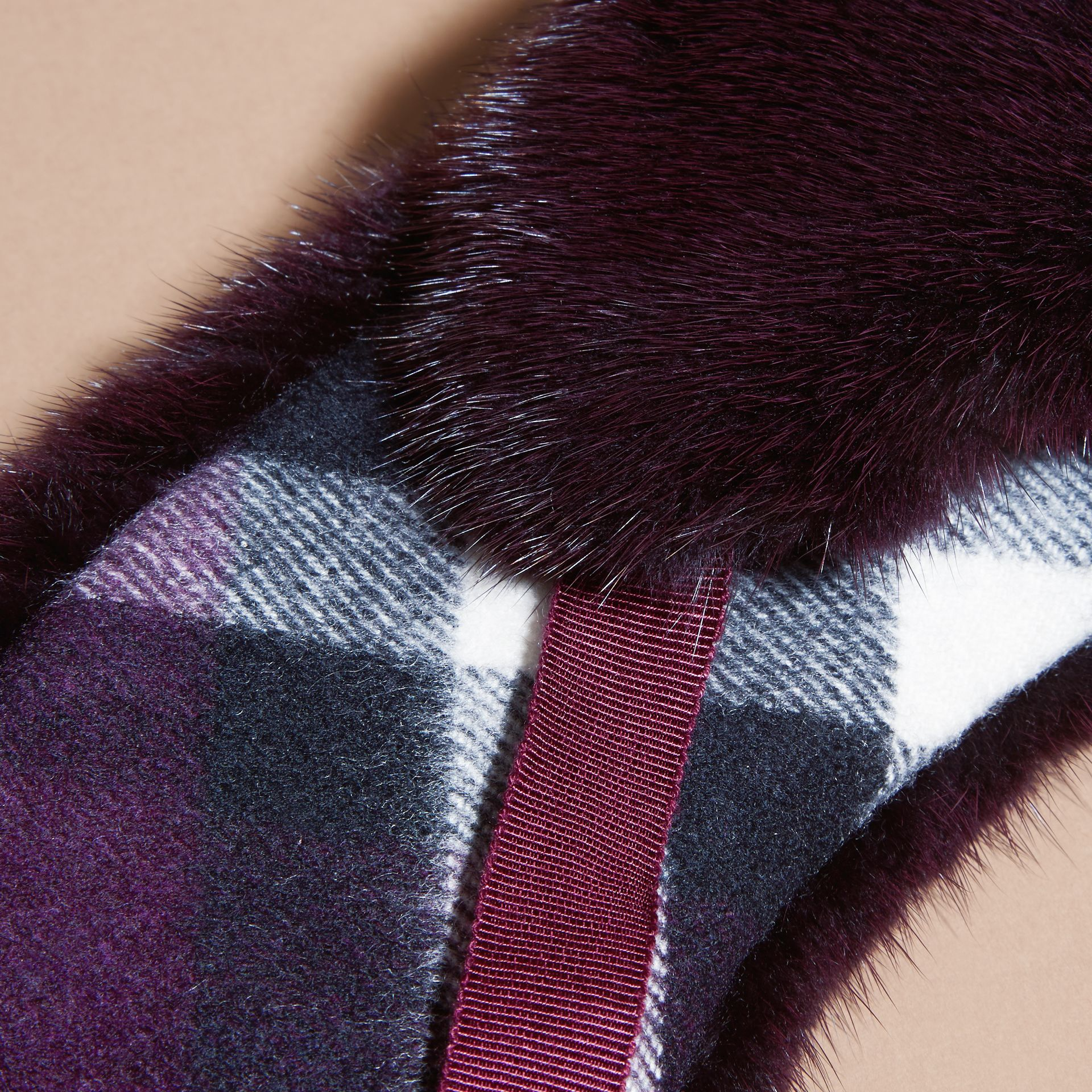Aubergine Mink and Check Cashmere Collar Aubergine - gallery image 3