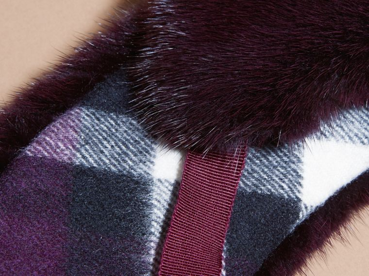 Aubergine Mink and Check Cashmere Collar Aubergine - cell image 2